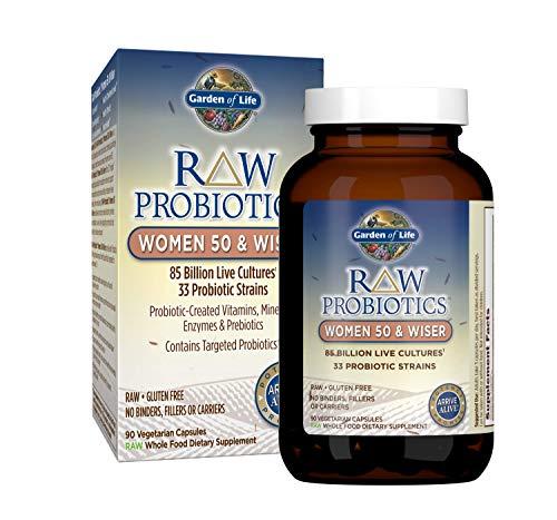 Garden of Life - RAW Probiotics Women 50 & Wiser 85 Billion Live Cultures - Probiotic-Created Vitamins, Minerals, Enzymes & Prebiotics - Gluten Free - 90 Vegetarian Capsules (Shipped Cold)