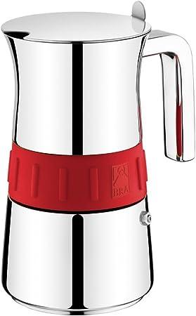 BRA Elegance - Cafetera Italiana, Acero Inoxidable, Gris y Rojo, 6 tazas, 9,3 cm x 9,5 cm: Amazon.es: Hogar