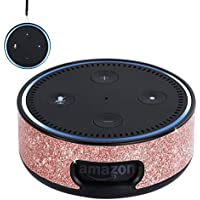 BENTOBEN Wall Mount Case for Amazon Echo Dot Alexa (Fit new Echo Dot 2nd Generation) Glitter Sparkle Premium Vegan Leather Cover Sleeve Wall Mount Stand Guard Holder for Echo Dot 2nd Gen,Rose Gold