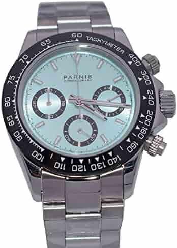 1aef2f3f48d Sapphire Crystal Parnis 39mm Ice Blue Dial Japanese Quartz Movement  Chronograph Function Men s Wristwatch