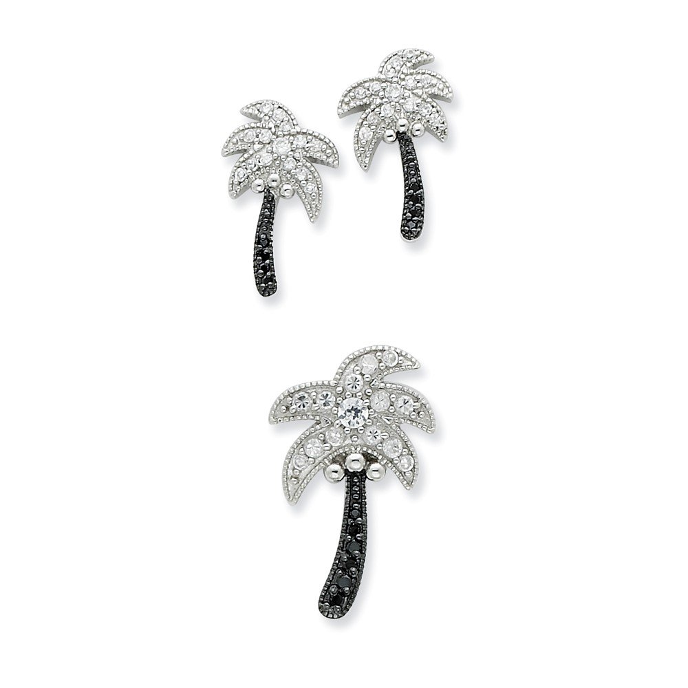 Sterling Silver Black /& White CZ Palm Tree Slide Pendant and Post Earrings
