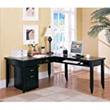 One Set, Tribeca Loft Black L-Desk & Rolling File Set In Distressed Painted Black Finish Main Desk (64''W x 30''D x 29''H), Return (45''W x 22''D x 29''H) & Mobile File (17''W x 20''D x 22-1/4''H)