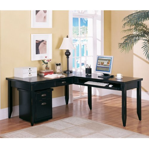 One Set, Tribeca Loft Black L-Desk & Rolling File Set In Distressed Painted Black Finish Main Desk (64''W x 30''D x 29''H), Return (45''W x 22''D x 29''H) & Mobile File (17''W x 20''D x 22-1/4''H) by Martin Furniture