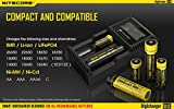 Nitecore D2 Digicharger Smart Universal Charger with Bonus Car Adapter and Bright Keychain Light - Compatible for Li-ion 26650 22650 18650 17670 18490 17500 17335 16340 (RCR123) 14500 10440 Ni-MH/Ni-CD: AA AAA A SC C Rechargeable Batteries