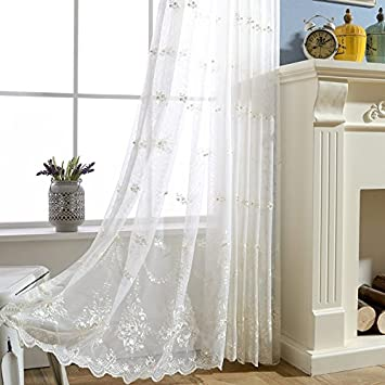 WPKIRA Rod Pocket 1 Panel Sheer Curtains for Living Room White Leaves Lace Sheer Window Curtain Drape Embroidered Window Treatment Panels with Decorative Simulation Pearl Beads