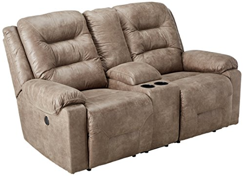 Ashley Furniture Signature Design - Rotation Recliner Loveseat with Console - Power Reclining Couch - Smoke Gray Brown -  9750196