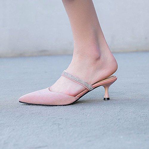 Transpirable 37 Zapatos de mujer zapatillas AJUNR heels Sandalias high 6cm Moda y pink cómodo sugerencia versátil elegante mate 37 qwSxSCEU