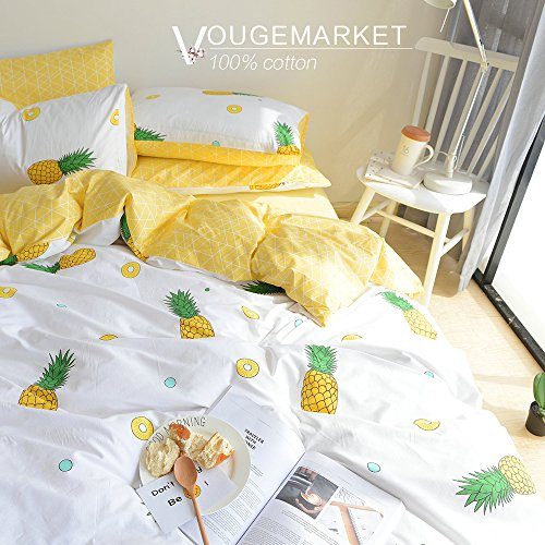 ton Pineapple Printed Duvet Cover Set Queen,3 Pieces Cream/off White Luxury Bedding Duvet Cover with zipper closure-Full/Queen,Pineapple (Printed Cotton Duvet Set)