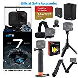 GoPro Hero7 Black Action Camera with GoPro Accessory Bundle - Handler, 3-Way, Shorty, Head Strap, and Dual Battery Charger w/ Battery