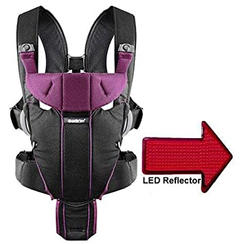 81a06797a3c Amazon.com   Baby Bjorn 096053US Miracle Baby Carrier with LED Safety  Reflector Light - Black Purple Cotton Mix   Child Carrier Products   Baby