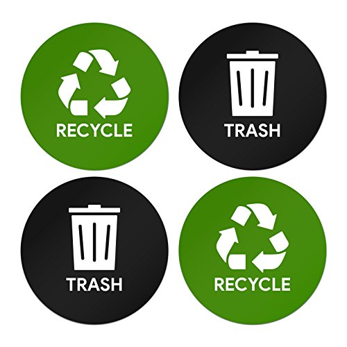 Sutter Signs Recycle & Trash Garbage Sticker Set for Offices, Businesses, & Events (2 stickers of each) (Stickers Round Symbol)