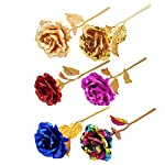 Promisen-24K-Gold-Foil-Rose-Artificial-Flowers-Long-Stem-Gold-Foil-Rose-Upscale-Immortal-Flowers-Birthday-Gift-Valentine-Gift-Wedding-GiftHome-Decor-BearLove-Base-C