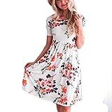 Rambling Fashion Floral Print Maxi Dress for Women, Casual Short Sleeve Long Dress