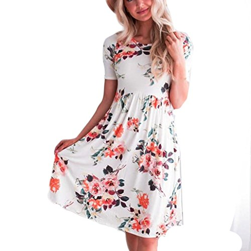 Rambling Fashion Floral Print Maxi Dress for Women, Casual Short Sleeve Long - Mat Dance Wiggles
