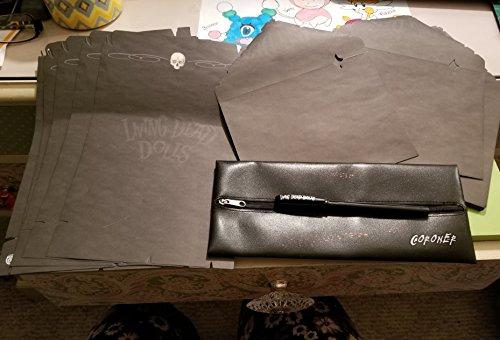 MEZCO® Living Dead Dolls BLACK Skull Stationary, Envelopes, Pen and BODY BAG Pencil ()