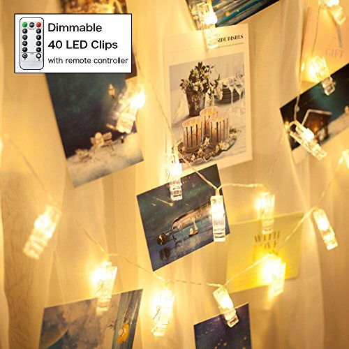 JONCSON 40 LED Photo Clips String Lights 16.4ft Warm White USB Cable with Remote Control Fairy Lights for Hanging Photos Pictures Cards and Memos,Home Party Wedding Decorative Lighting Artworks