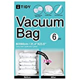 iTIDY Vacuum Bag-Compression Seal Bag Reusable,Plastic Space Saver Storage Seal Bags for Clothes, Comforters,Curtains, Blankets, Bedding,Free Hand Pump for Travel, Large, Pack of 6