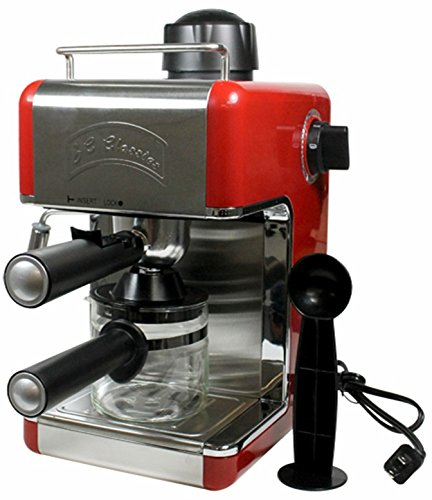 Bene Casa BC-99152 4-Cup Espresso Maker with Frother, Red