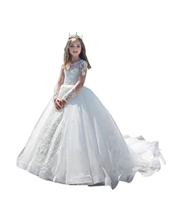 6034ee776d Amazon.com  Gzcdress Luxury Long Sleeves Lace Flower Girls Dresses 2018  Princess White Pageant Dress for Girls 24  Clothing