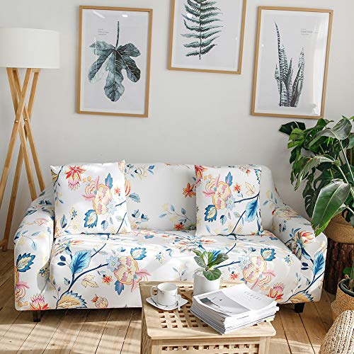 Ihoming Printed Stretch Sofa Slipcover Loveseat Slipcover Couch Slipcover with 2 Free Pillow Covers, 2/3/4/ Seat Sofa Covers(Loveseat, Lantern Flower)