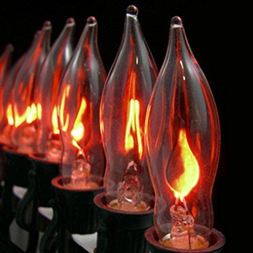 Sienna Set of 10 Flickering Amber Flame C7 Halloween Lights - Black (Flickering Orange Halloween Lights)