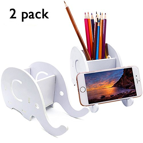 2-Packs DIY Elephant Pencil Holder with Phone S...