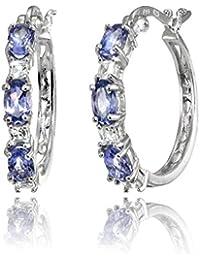 Sterling Silver 5x3mm Oval Gemstone & Princess-cut White Topaz Filigree Hoop Earrings