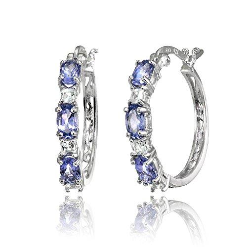 Sterling Silver 5x3mm Oval Tanzanite & Princess-cut White Topaz Filigree Hoop Earrings (Bracelet 3 Stone Tanzanite)