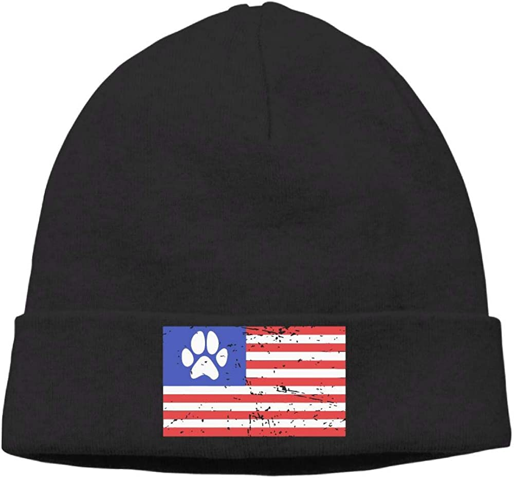 Dog Paw USA Flag Women Men Knit Beanie Cap Knit Warm Fleece Lined Skull Cap