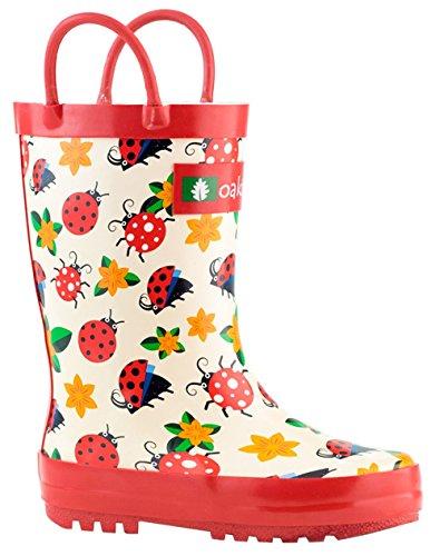 (Oakiwear OAKI Kids Rubber Rain Boots with Handles, Ladybugs & Flowers, 1Y US Little Kid)