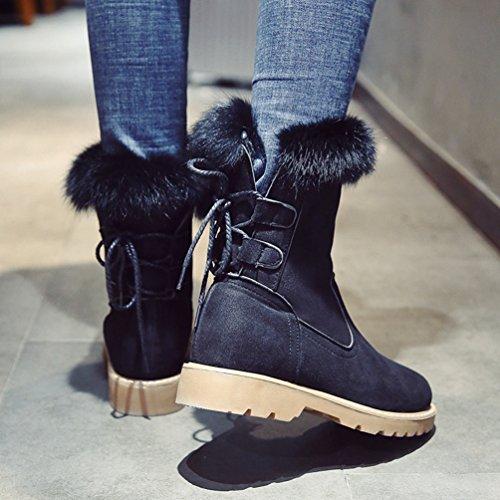 Jitong Women's Mid Calf Suede Boots Warm Faux Fur Lined Booties Lace Up Comfort Low Heel Snow Boot Black JllLkSyl