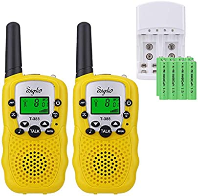 Sigdio T-388 Walkie Talkie Niños PMR 446 Walky Talky con Batería Recargable y Cargador Walki Talki Función VOX 8 Canales 0,5 W pantalla LCD Walkie ...
