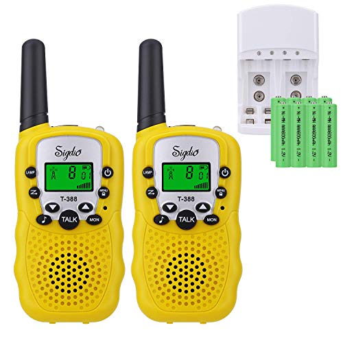 Sigdio Kids Walkie Talkies Rechargeable Walky Talky 22CH FRS 2 Way Radio Kids Toy with Multi-Charger Rechargeable Batteries VOX and Torch (Yellow, 8 rechargeable batteries)