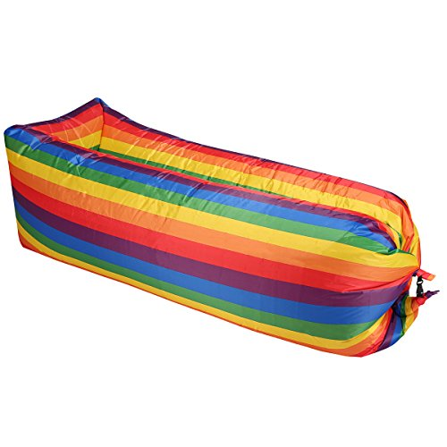 HOQI Inflatable Lounger Hammock Air Sofa Ideal Summer Gift Indoor Outdoor Use Side Pocket Carry Bag Lightweight Oxford Nylon Camping Picnics Festivals (Rainbow)