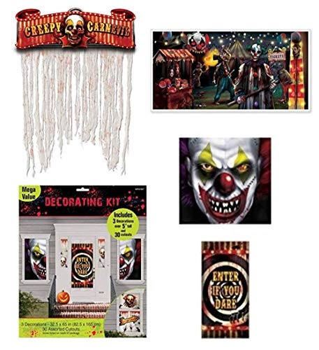 FAKKOS Creepy Carnival Decorations Pack Plus Side Show Banner and Doorway Curtain Halloween