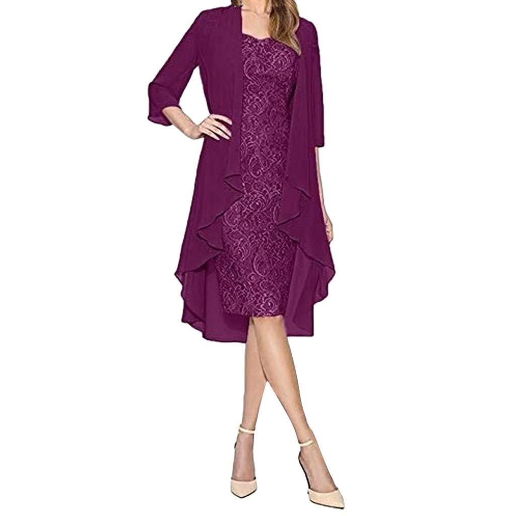 Beihxwe Women Sexy Two-Piece Chiffon Lace Embroidery Formal Wedding Ball Prom Gown (L, Purple)