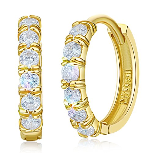 14k Yellow Gold 2mm Thickness CZ Hoop Huggie Earrings - 3 Different Size Available
