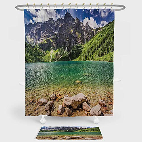 iPrint Mountain Shower Curtain And Floor Mat Combination Set Lake Tatra and Mountains Poland Forest at Sunrise Rocky Shore For decoration and daily use Green Turquoise Light Brown ()