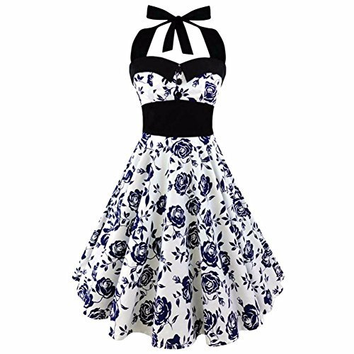 577Loby Retro Vintage Style Sleeveless 3D Skull Floral Printed Summer Women Dress Halter Plus Size Party Sexy Casual Dress ()