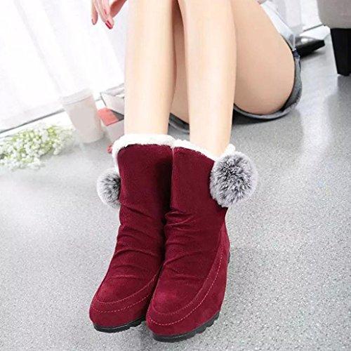 TPulling Mode Stylische Herbst Und Winter Wildleder Schuhe Bequem Baumwollstiefel Wollkugel Warmstiefel Rot