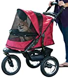 Pet Gear No-Zip Jogger Pet Stroller for Cats Dogs - Zipperless Entry - Easy One-Hand Fold - Air Tires - Cup Holder + Storage Basket