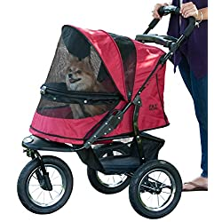 Pet Gear No-Zip Jogger Pet Stroller Zipperless Entry Rugged Red