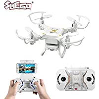 SBEGO RC Drone, 127W Foldable RC Quadcopter 2.4GHz 4 Chanel 6 Axis Gyro FPV RC Quadcopter Drone Wifi HD 0.3MP Camera Remote Control Mini Porcket Drone for Beginners (White)