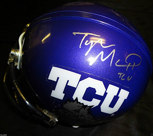 TYLER MATTHEWS SIGNED TCU HORNED FROGS MINI HELMET TEXAS CHRISTIAN UNIVERSITY J1