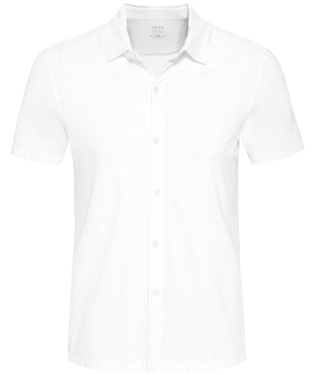 Altea Men's Superfine Crêpe Short Sleeve Baker Shirt White M by Altea (Image #1)
