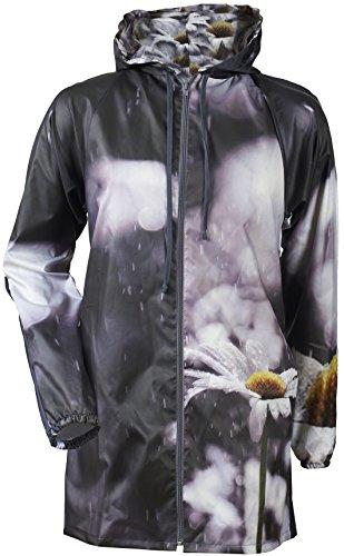 Women's Packable Hooded Waterproof Active Windproof Outdoor Rain Jacket (Yellow Daisy Raincoat, x Large)