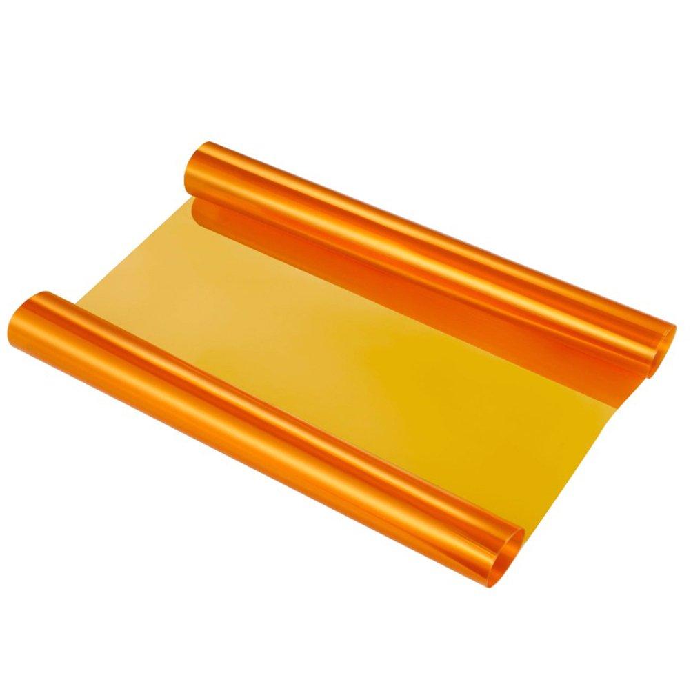 VORCOOL Film teinté Voiture Film teinté Auto Adhésif pour Phare Feux Arrière Anti-Brouillard 30 x 120CM (Orange) VZ407511846EL686C