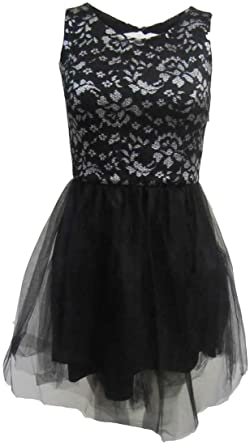 Black Silver Lace Chiffon Prom Dress DR679-12