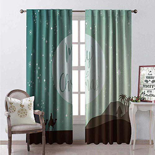 (Hengshu Merry Christmas Blackout Window Curtain Three Magi Following The Star Ancient Scene Dessert Journey Camels Customized Curtains W108 x L108 Multicolor)