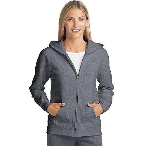 - Hanes Women's Full-Zip Hooded Jacket, Slate Heather, Medium